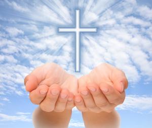 Hands Presenting Cross