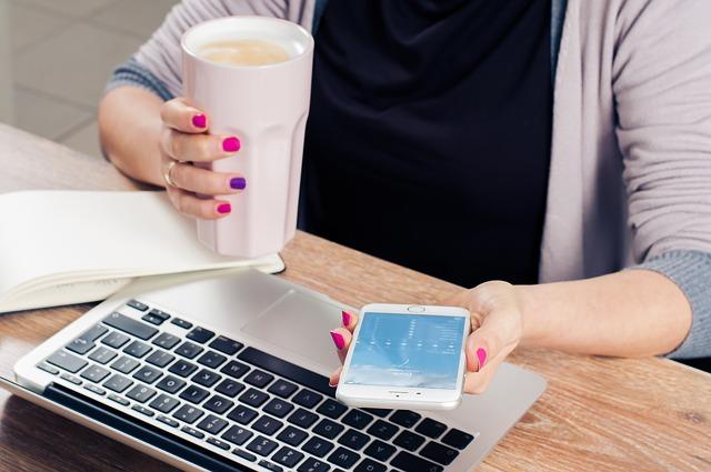 Woman Checking Social Media Images